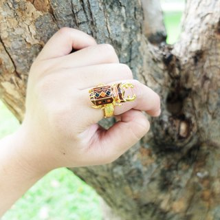 Glorikami Dark Brown Stag Beetle Ring