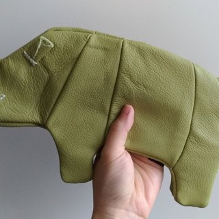 +zoom- Rhinoceros Style Leather Pencil Case Bag - Apple Green