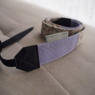 hairmo. Pink small floral stitching double back strap - purple dot +