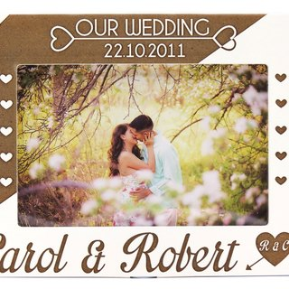 Customized carved wooden photo frame (4R photo) - we get married personalized theme x