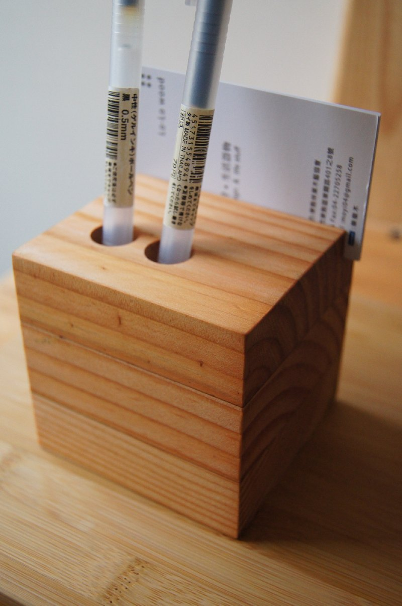 Collection of wood - Ponderosa card inserted Pen Holder