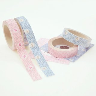 Cloth tape - Japanese style village wind (white bubble flower) (pink/blue)