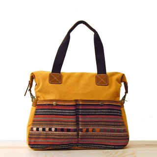 [Happa] whims large capacity tote bag - Hand knotted kilim paragraph (Mustard mustard yellow)