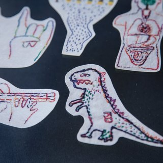 Tonight I hand - Embroidery stickers - logo embroidery series - dinosaur / human / Rock Dream / wanted to sing a song to you / We live in a rainy place (a group of five)