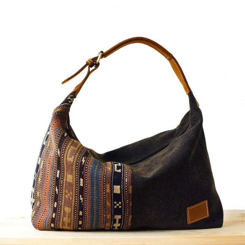 [Happa] youthful invincibility soft shoulder backpack (in) - Hand knotted kilim paragraph (Black Coffee Black)