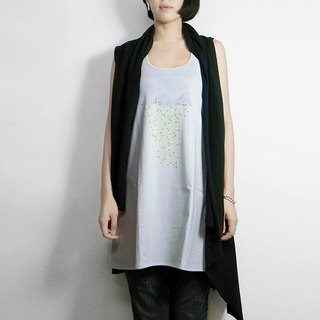 I. A. N Design above sea level, below sea level gray Long dig back vest 100% organic cotton Organic Cotton