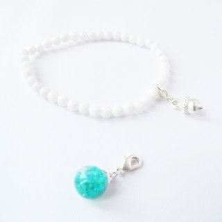 * Rosy Garden * Tiffany blue sequins flowing water glass ball with white snowflake bracelet Mashan Yu