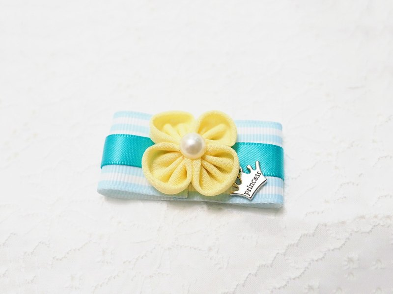 Handmade tiffany blue ribbon with yellow flower accessory (clip/ band/ corsage)