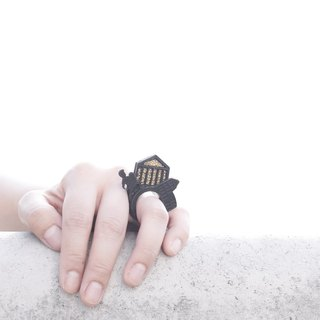 SUE BI DO WA - handmade leather and close the hand-woven ring -ROMA 100% handmade leather mix with yarn Ring (ROMA)