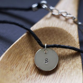 Sterling Silver - customized letters & amp; Digital necklace -9mm round (leather cord)