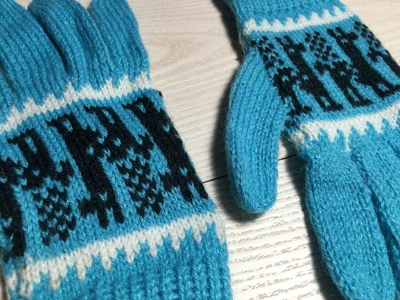Alpaca wool gloves, long-sleeved walk - Light Blue
