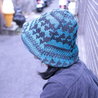 JOJA│ blue and green jacquard x dark gray double-sided hat ordered