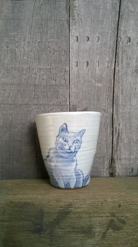 MOISTURE painted blue and white cat a plan to visit the Great ˙ ˙ handle grip Cup
