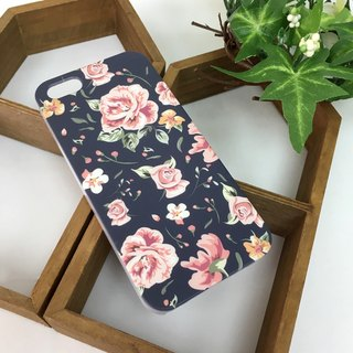 Rose Blue Pattern Print Soft / Hard Case for iPhone , Samsung Galaxy