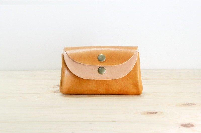 LION's 雙色三明治零錢包/手工皮革收納錢包