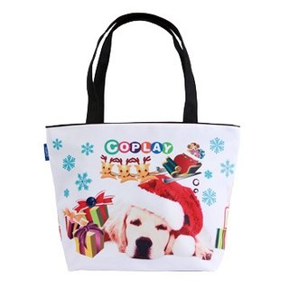 COPLAY  tote bag-Chrismas dog-Black handle