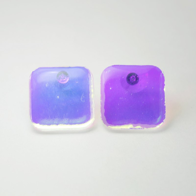 waterdrop earrings (square clear pink)