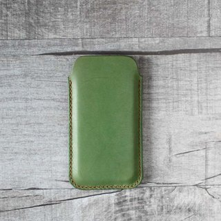 Light green genuine leather iPhone sleeve pouch case