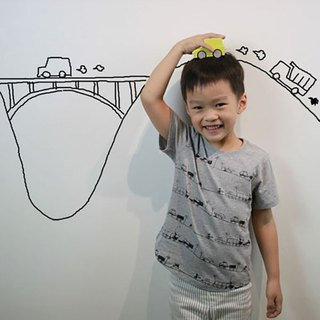Children's cotton handmade t-shirt - Childlike Miro's city imagination (gray)
