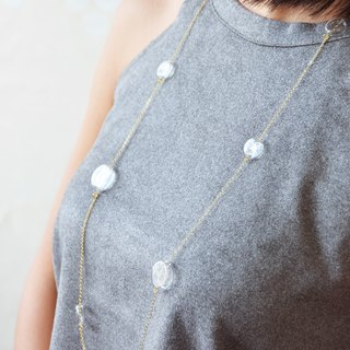 COCO  - Classic style flat round bubble long necklace