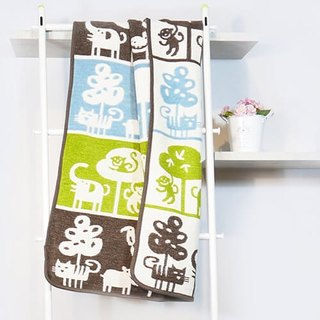 [Moon Moon] Sweden Klippan organic cotton warm blanket - cute zoo (coffee)