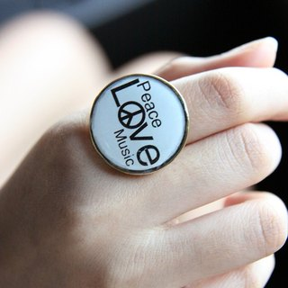 Peace Love Music Ring / Fashion Cute Hipster Jewelry / Adjustable Ring / Girl Woman Accessories