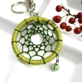 Small kite - Dream catcher key ring - Olive green