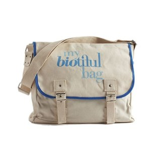 France my biotiful bag Organic Cotton Messenger Bag-Blue