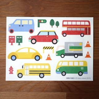 Large collection of cars and paper stickers
