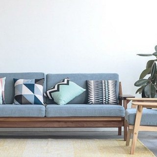 Lushan Workshop - Walnut - Cherry Wood - Cotton Fabric - Three-seat sofa