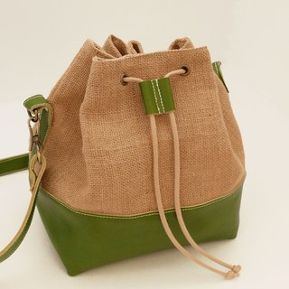 Sen Huxi burlap + leather bucket bag green paranotum
