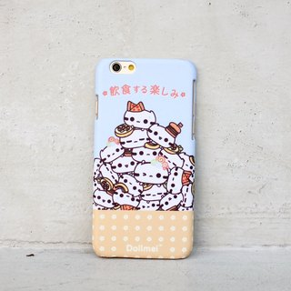 Dollmei iPhone 6 shell phone cute cat food and drink happy blue