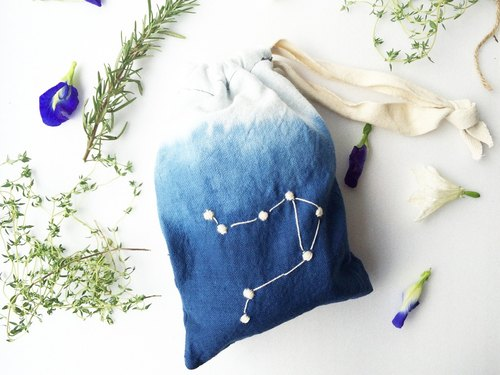 Libra : Zodiac Constellation Gift Hand Dyed Dip Dye 100% Cotton Embroidered Ombre Drawstring Bag Accessories Coin Purse Pouch Birthday Idea