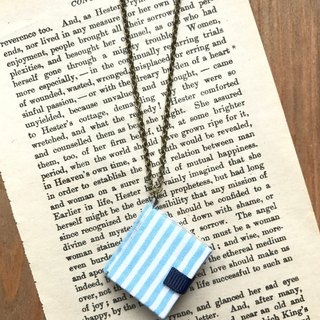 Mini Book Necklace| Blue and White Stripes