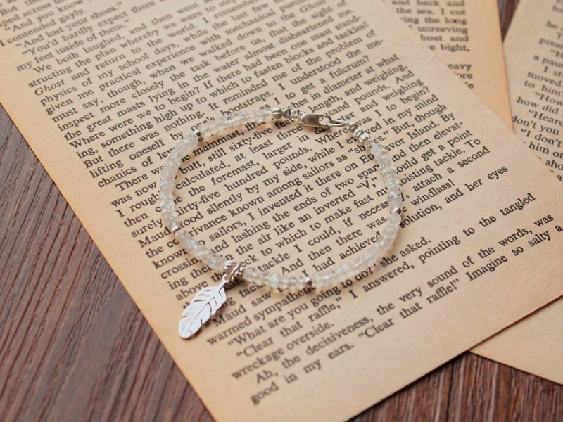 Journal lucky feathers / Moonstone, Silver Bracelet Wristband