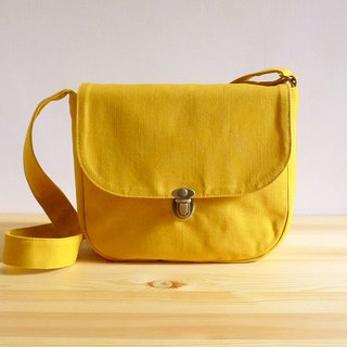Handmade yellow brown cotton canvas small cross-body bag