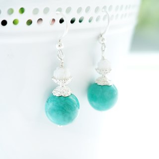 THE SCARED STONES-Limited Turquoise Tridacna Silver Dangle Chandelier Earrings