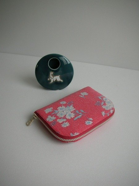 Matsuyama child pink daisy washed cotton - short clip / wallet / purse / gift only - the last one