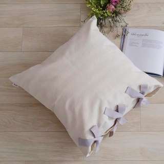 [Cover only] canvas stripes cushion cover ribbon SQ