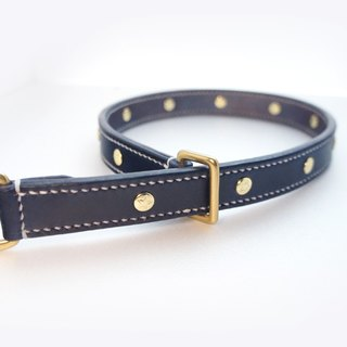 [Handsome hand-made leather collar P word] Double leather collar L