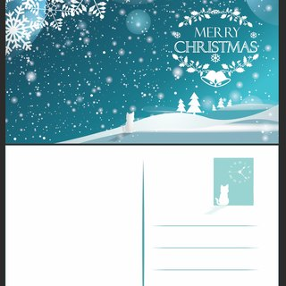 2016 white theme Christmas postcard