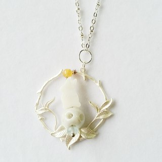 White ball, Fritillaria rabbit, Aquamarine Bianzhu, agate 925 sterling silver necklace