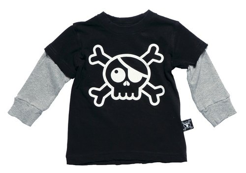 2014 autumn and winter NUNUNU Big skull spell sleeve cotton T-shirt