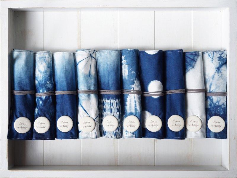 S.A x 藍染捲筆袋