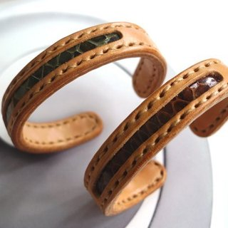 Simple copper core bracelet _s tropical brown / green rainforest