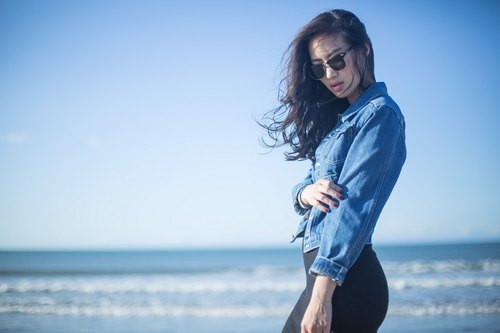 Metal button-down jean/denim jacket - light blue