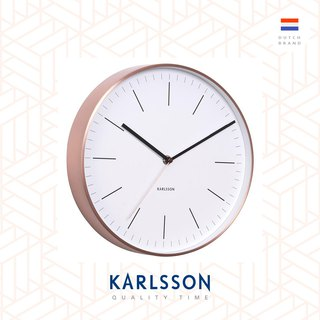 Karlsson wall clock Minimal white w.copper case(荷蘭Karlsson銅框簡約掛鐘)