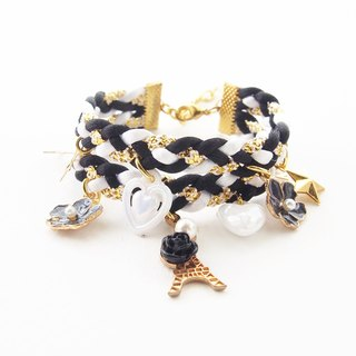♥ ELBRAZA ♥ Eiffel black and white bracelet.