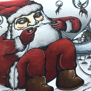 Santa and Bubble Reindeers - artwork available in Greeting Card