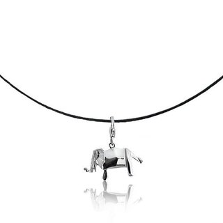 Origami plaid elephant fairy Silver Necklaces